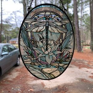 Dragonfly painted etched glass window hanging